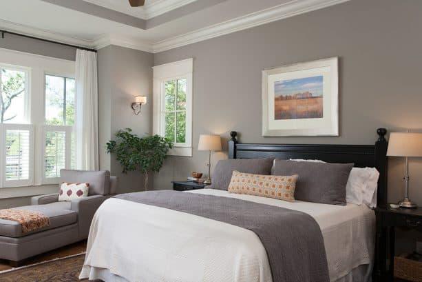 craftsman master bedroom with Benjamin Moore Rockport Grey HC-105 wall color and Benjamin Moore White Dove OC-17 trim color combinations