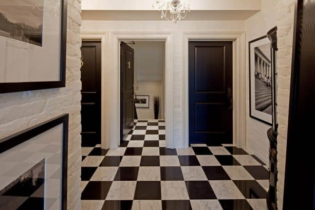 victorian entry with white trim and black doors paint color