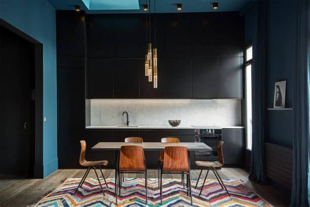 teal and black kitchen design