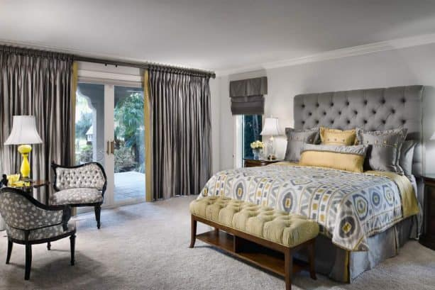 contemporary bedroom with grey and yellow theme