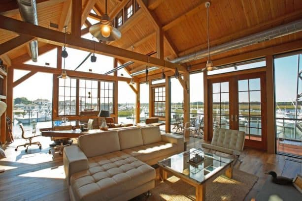 an eclectic living room with tongue and groove roof deck from Douglas fir material