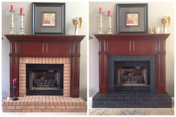 an elegant fireplace before and after getting stained