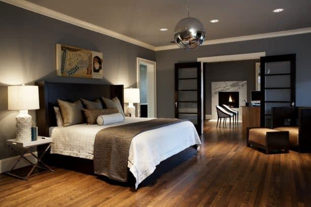 simple crown molding in a modern craftsman bedroom interior