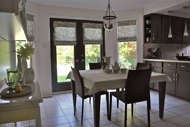flat roman shades with coordinating color and pattern with the nearby windows