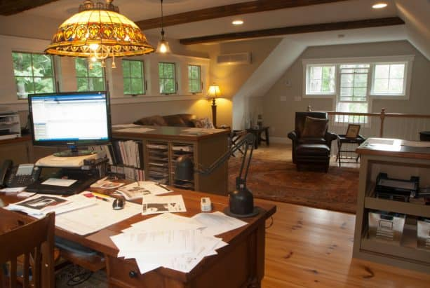 the office studio on the second floor of the shed