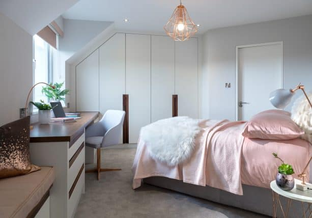 simple and mature pink and grey bedroom