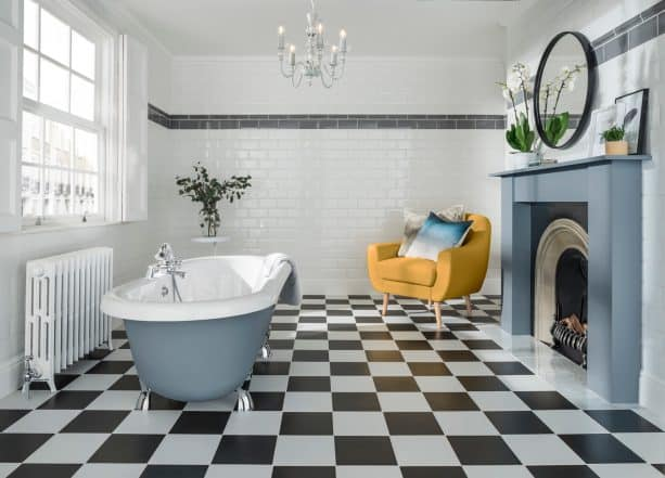 surreal black and white floor in a contemporary bathroom