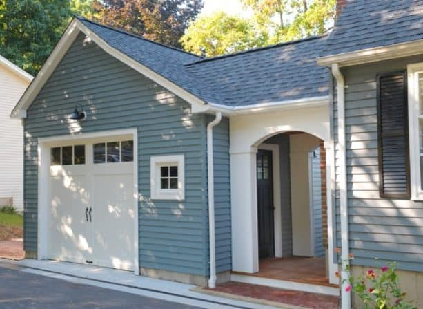 a new garage addition completed with a tiny covered walkway