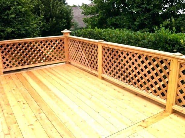 lattice railing with wood cap and posts
