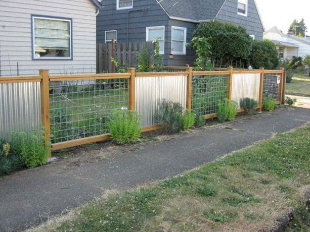 corrugated metal and wire combination for fencing