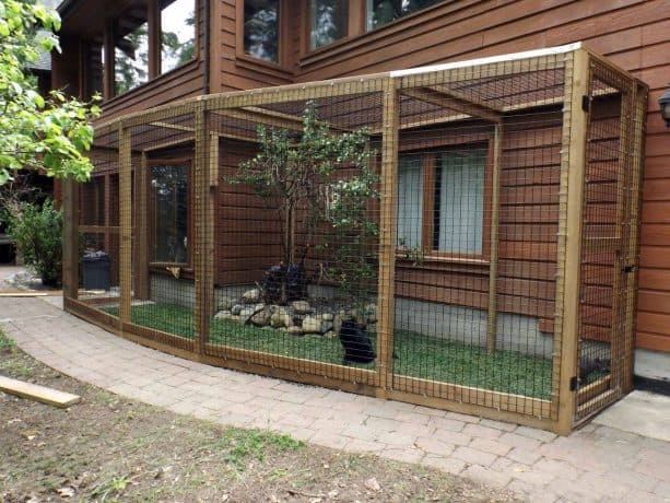 a cat enclosure looks wonderful with its natural feel from the grass flooring and live tree inside it