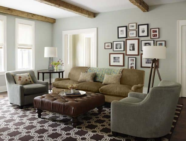 traditional living room with Benjamin Moore gray wisp 1570 wall paint color