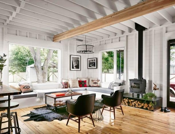 an industrial farmhouse living area looks attractive with iron wood stove in it