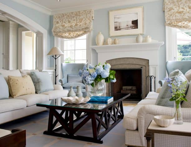 modern transitional living room with Benjamin Moore Horizon 1478 wall paint color