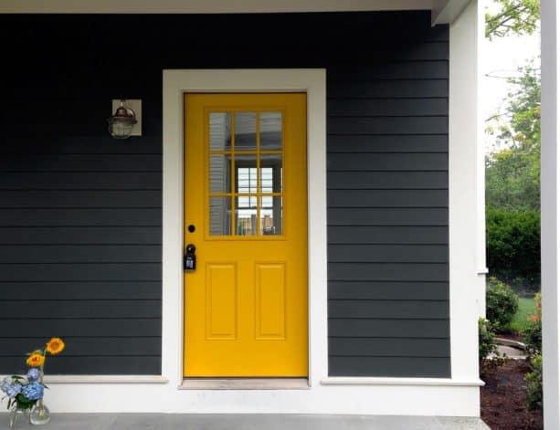 dark grey paint, white trim, and yellow tone looks nice together