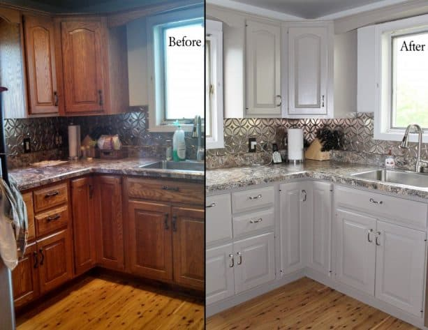 honey oak kitchen cabinets updated with a new white paint
