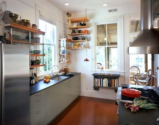 a small kitchen with indoor window for creating a more open atmosphere