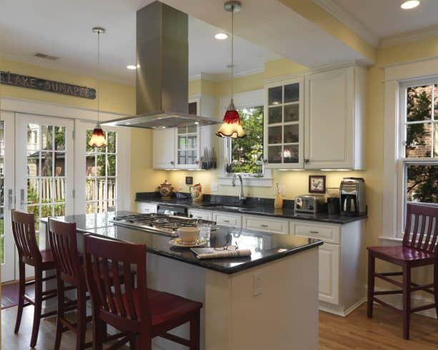 traditional kitchen with white cabinets Sherwin Williams Friendly Yellow wall paint color