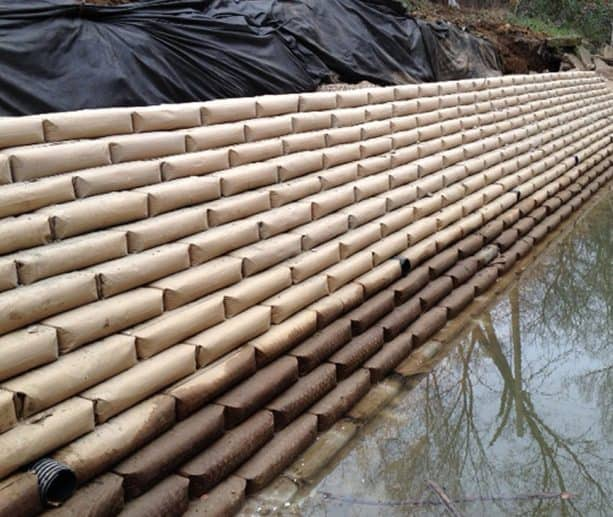 the use of Sakrete concrete bags for creating embankment in the riverside area