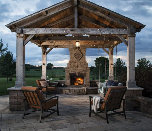 a gazebo with tongue and groove roof deck