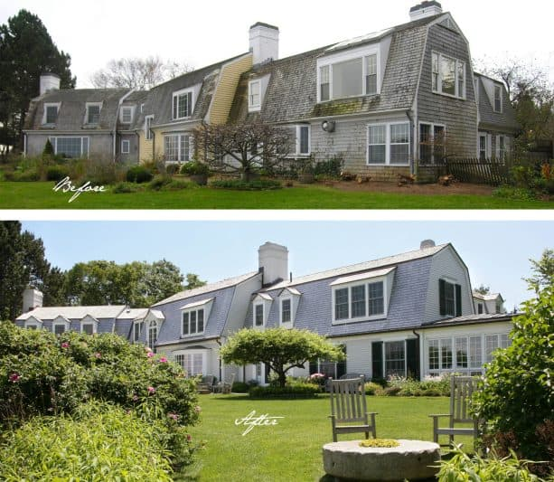 the changes shown in the before and after photo of the house rear