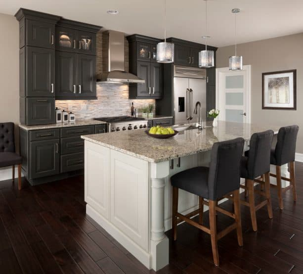 transitional kitchen with handscraped hardwood floor and greige wall paint