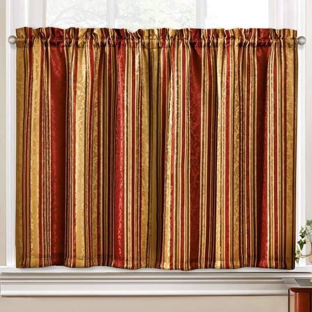 Waverly crimson traditions kitchen curtain set