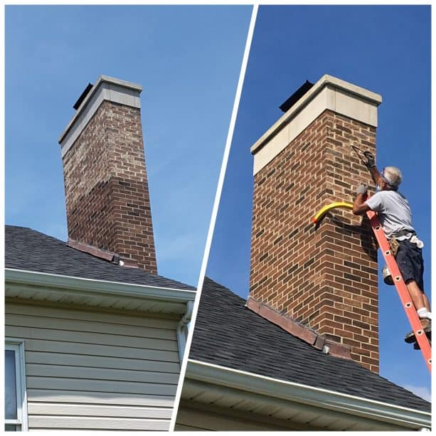 the before and after photo of a stained brick chimney