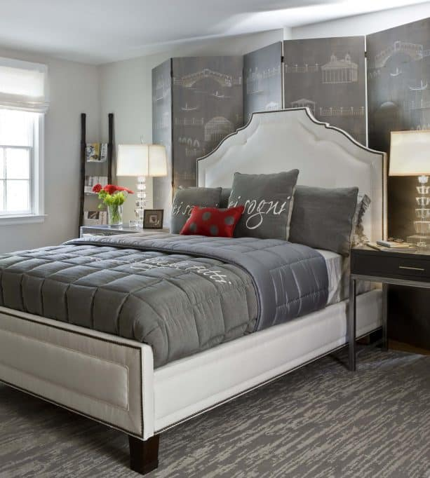 dark grey, red, and white bedroom design in contemporary style