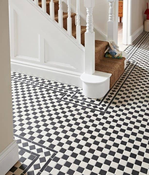 black and white checkered mosaic porcelain floor