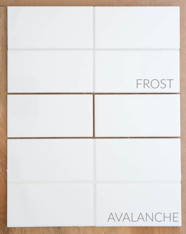 the comparison between Mapei Avalanche white and Frost gray on subway tiles