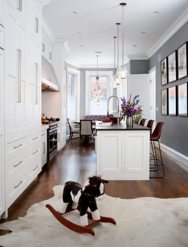 transitional kitchen with benjamin moore storm AF-700 wall paint color