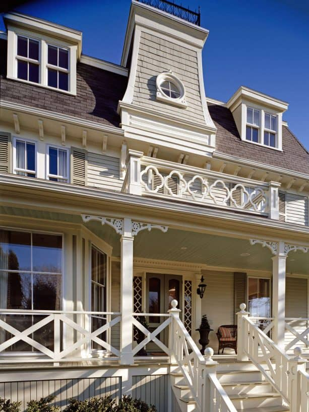 Victorian porch with criss cross railing