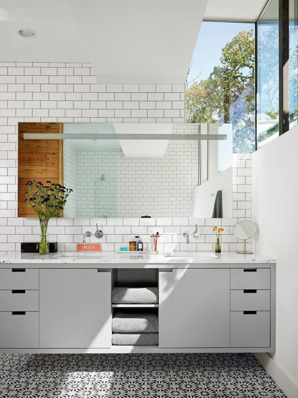 a contemporary bathroom with a lot of sunlight