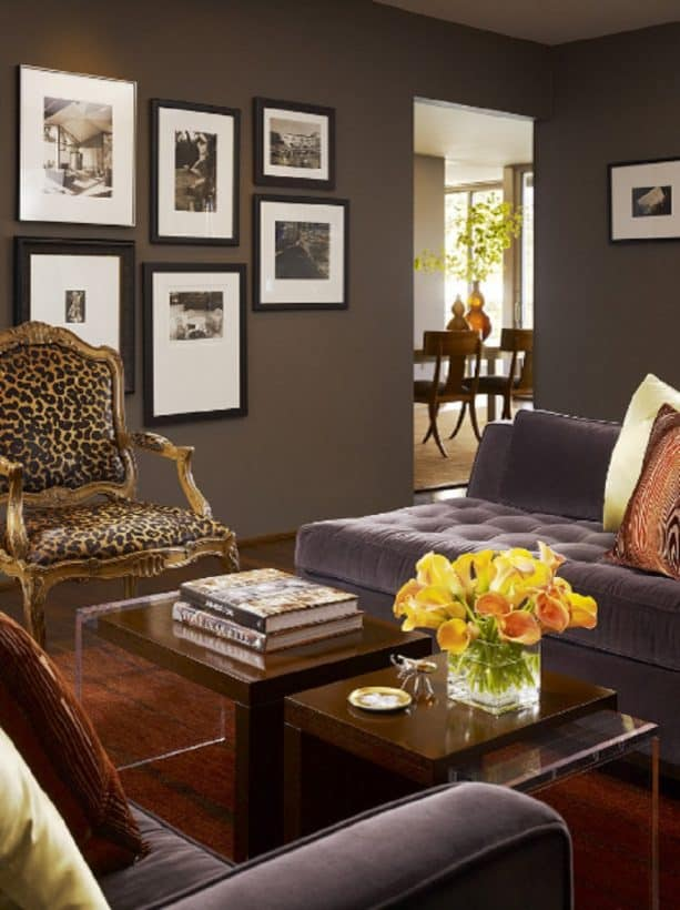 grey living room with a brown wall