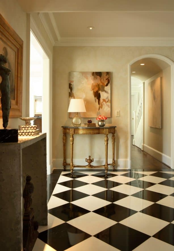 black and white marble tile floor in a traditional entry