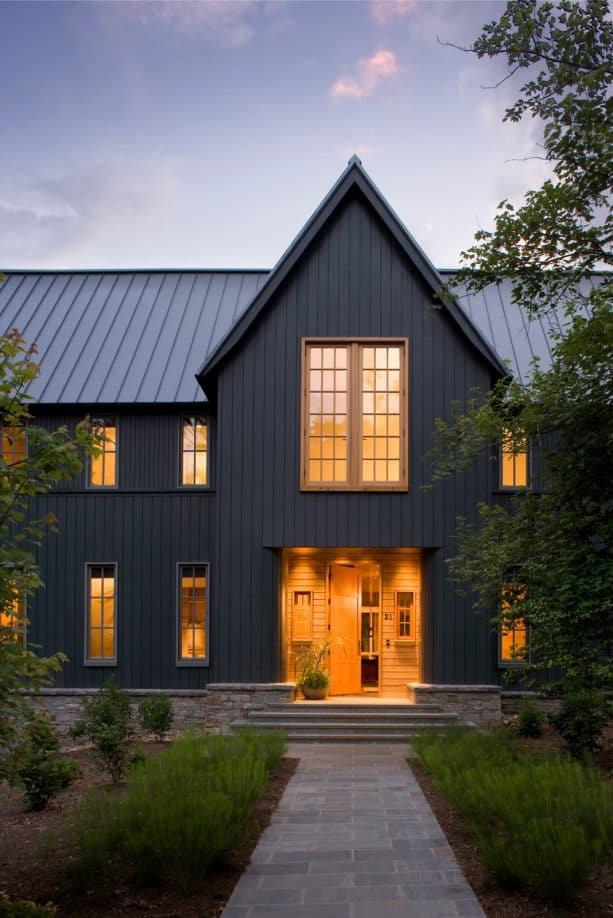a stunning charcoal grey mountain home in transitional style