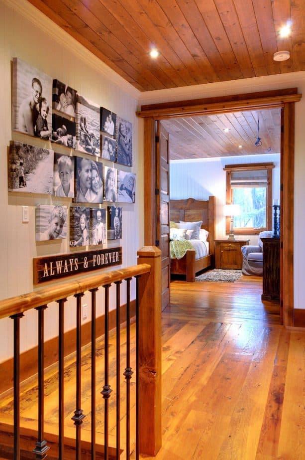 warm white hallway with wooden trim