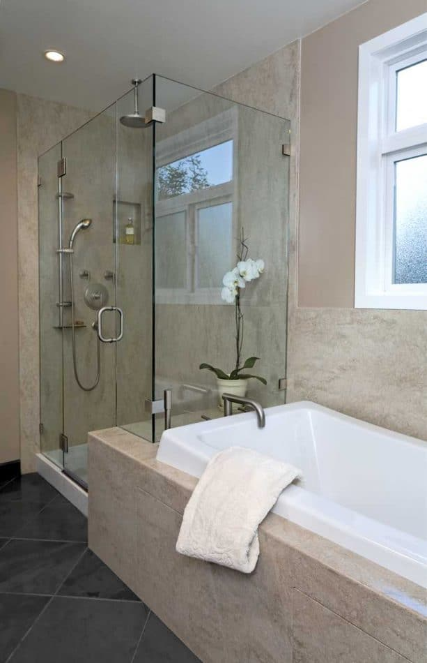 a contemporary shower room with Tumbleweed solid panels for the walls