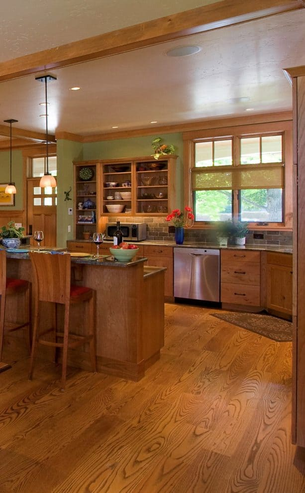 simple solid wood crown molding in a craftsman kitchen interior