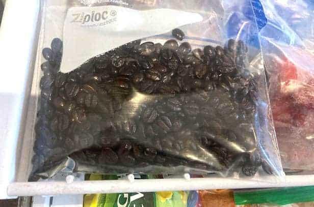 Dark roast coffee beans on a rack in a freezer