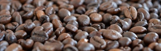 A bed of roasted coffee beans