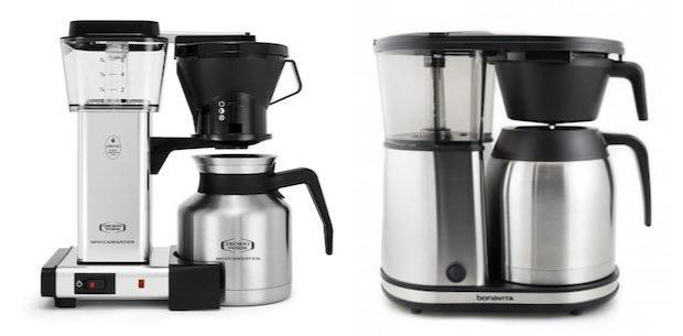 split image showing a moccamaster coffee maker on the left and a bonavita coffee maker on the right