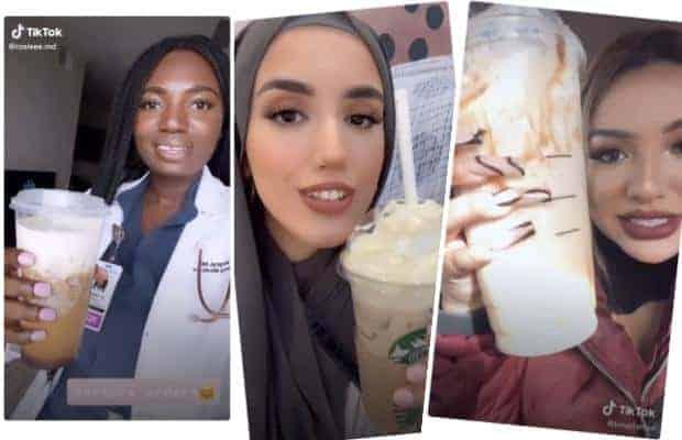 Three screenshots from TikTok featuring women showing off their favorite Starbucks drinks