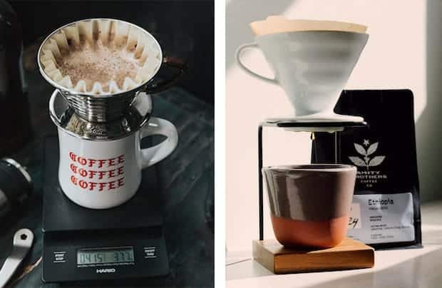 Split image of Kalita Wave on left and Hario V60 on right