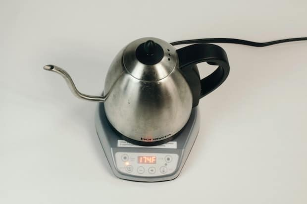 Top view of a gooseneck kettle boiling water