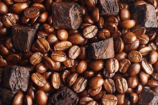 chicory root mixed in with coffee beans