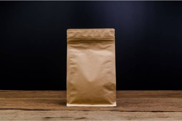 Paper bag of coffee beans