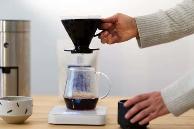 Pour-over coffee brewing on a scale