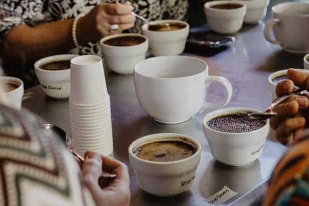 People sample cups of coffee at a long table